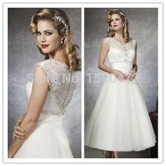 2015 Elegant Beaded Crystal Ruffles Lace Vintage Short Wedding Dress vestido de noiva corto Bride Dresses WD111-in Wedding Dresses from Weddings & Events on Aliexpress.com | Alibaba Group