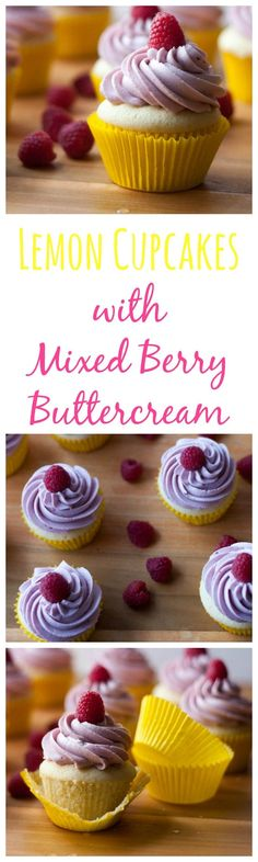 Lemon Cupcakes with Mixed Berry Buttercream | lemon cupcakes | cupcake recipes | lemon recipes | cupcakes | berry cupcakes - Boston Girl Bakes