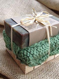 Soap Gift Set - Woodland Sage Soap, Handknit cotton washcloth, all natural soap,