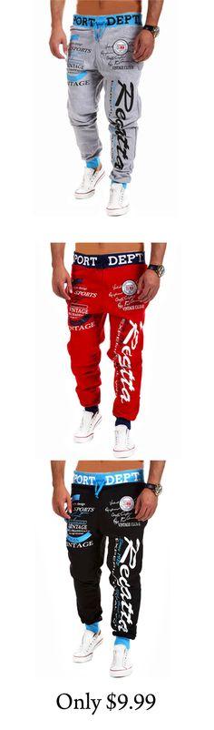 Men's Sport Print Cotton Casual Sweatpants
