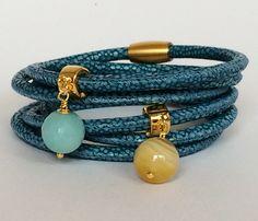 Leder Wickelarmbänder - Wickelarmband mit Amazonit - ein Designerstück von Simply-O bei DaWanda