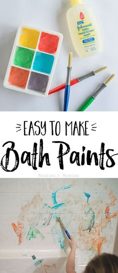 Easy to make DIY bath paints in vibrant colors for your kids to experiment with. Great sensory fun made with just 4 ingredients!