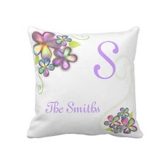 """Pretty Colorful Flowers with Custom #Monogram Pillows $72 Throw Pillow 20"""" x 20""""  Accent your home with custom pillows. Made of 100% grade A cotton. The perfect complement to your couch, custom pillows will make you the envy of the neighborhood.      Sizes 20""""x20"""" (square)      100% grade A woven cotton.     Fabric is made from natural fibers, which may result in irregularities     Made in the USA.     Hidden zipper enclosure; synthetic-filled insert included.     Machine washable."""