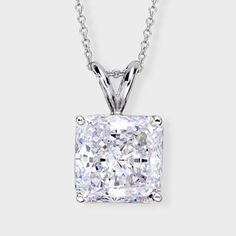 Classic cubic zirconia pendant features a 5.0 carat princess cut prong set in 14k white gold. An Italian cable chain is included, with your choice of 16 inch or 18 inch length. This high quality cubic zirconia pendant is also available in 14k yellow gold via special order. Cubic zirconia weights refer to equivalent diamond carat size.