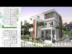 Home Plan 2 stories Villa Design Size 4 bedroom. This villa is modeling by SAM-ARCHITECT With 1 stories level. It's has 4 bedrooms 4 Bedroom House Plans, Duplex House Plans, Dream House Plans, House Floor Plans, Free House Design, Small House Design, Conception Villa, House Construction Plan, Model House Plan