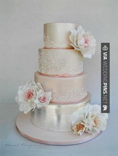 Neato! - Wedding Cake Trends 2015 - Blush and silver #wedding #cake with lace and floral details ~ Sweet Disposition Cakes | CHECK OUT MORE TO DIE FOR PHOTOS OF GREAT Wedding Cake Trends 2015 AT WEDDINGPINS.NET | #weddingcaketrends2015 #weddingcaketrends #weddingcakes #weddingtrends #weddings #weddinginvitations #vows #tradition #nontraditional #events #forweddings #iloveweddings #romance #beauty #planners #fashion #weddingphotos #weddingpictures