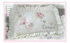Romantic Sachet Pillow 5086 Lace & Roses Original Designs By Lynn-pink, roses, shabby, chic, ruffles, Victorian, Vintage, Lynn, Barkcloth, PINK,