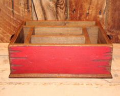 Table Caddy Napkin Holder Paper plate holder by WorkHorseFurniture & Rustic red distressed with black nail heads tableware utensil holder ...