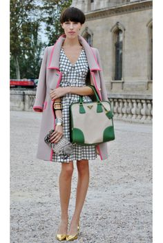 Gingham + tan basics with brightly colored details and metallic shoes...