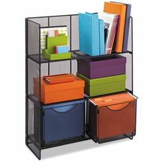 Fold-Up Shelving keeps books, binders and reference materials organized while adding storage for files and other essentials. This three shelf unit features rounded edges. The bottom shelf features tracks for two file folder bins which are included. Storage Cabinets, Storage Shelves, Storage Spaces, Shelving, Storage Organizers, Ikea Shelves, Book Shelves, Wall Shelves, Storage Ideas