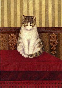"""Khodozhnik S. Goloshchapov  """"Cat sitting on a bed"""""""