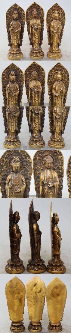"Details about 7""Tibet Bronze Three Western Saints buddha (Amitabha) Guan yin and Dashizhi SET R0715 $141.4"