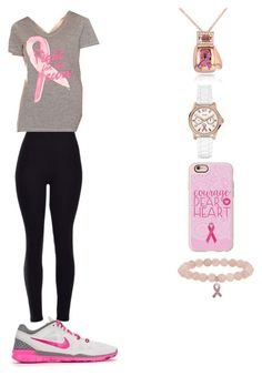 """breast cancer awareness"" by myamarie101 ❤ liked on Polyvore featuring Kobelli, GUESS, Casetify, Phillip Gavriel, Made For Life and NIKE"