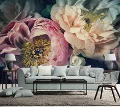"Helen Bankers ""Peonies""stunning floral wallpaper mural by www.backtothewall.co.nz    Thinking of a feature wall?why not think of a mural wallpaper for your bedroom living room or dining room. This is a high quality wallpaper which is easy to install and remove and is customised to fit your wall"