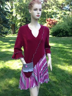 Cashmere Tunic Handmade L to XL Size Asymmetrical Patchwork Ruffled Cropped Sweaters  Womens Clothing
