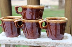 FOUR 4  vintage 3 1/2 brown drip HULL pottery by polkadotsandcurls