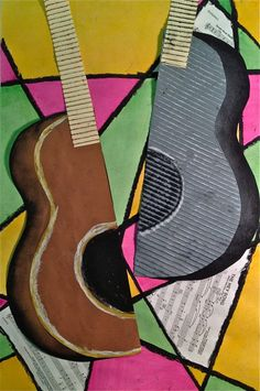Abstract Art Guitar or Music Instrument Mixed Media Lesson | Create Art with ME