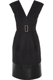 Calvin Klein Collection Sika leather-trimmed plaid wool-blend dress