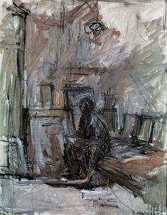 Alberto Giacometti sketch: Sitzende Figur im Atelier 1955 Alberto Giacometti, Figure Painting, Figure Drawing, Painting & Drawing, Giacometti Paintings, National Portrait Gallery, Art Graphique, Gravure, Life Drawing