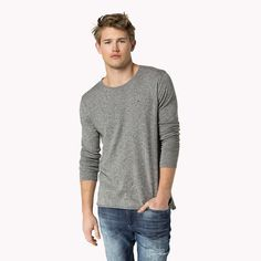 Tommy Hilfiger Melierter Baumwoll-sweater - lt grey htr - Tommy Hilfiger T-Shirts - Hauptbild