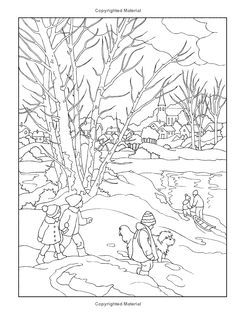 Dover Coloring Book Creative Haven Winter Scapes