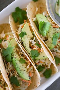 Mojito Lime Fish Tacos are healthy and super delicious that requires zero frying! Make a taco slaw to go on top and voila! Healthy dinner in less than 30 minutes. Fast Dinner Recipes, Fast Dinners, Healthy Breakfast Recipes, Quick Meals, Healthy Recipes, Supper Recipes, Healthy Meals, Healthy Eating, Fish Recipes