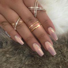 Fairydust Blush Pink Coffin Nails #nail #nailart