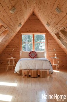A sunny bedroom. March 2013: Scandinavian vernacular in a Deer Isle artist's home. Photography Matt Kalinowski