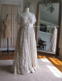 Hippie Lace Collage XL Champagne Lace Wedding Dress by hippiebride