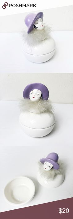 Vintage Lady ring/ eyelash holder Gorgeous Vintage ring/ eyelash holder👌🏻✨ A pretty little lady with long lashes, tiny cherry lips, and a pastel purple hat. Her marabou feathers are the original scarf and can be replaced with new material if desired;) Urban Outfitters Jewelry Rings
