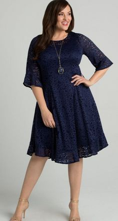 0916e12048 Plus Size Lace Dress With Sleeves - Our plus size princess seam lace dress  is designed