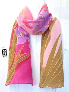 Hand Painted Pink Spring Irises Silk Scarf