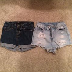 BDG Jean Shorts Both for $30 or $18 each. Light wash high waisted rip jean shorts 24w; dark wash high waisted jean shorts 25 (fits like a 24). Urban Outfitters Shorts Jean Shorts