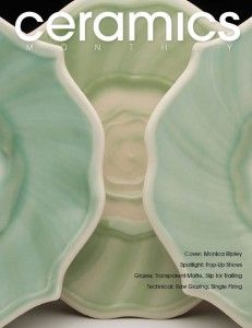 Ceramics Monthly's June/July/August 2014 cover, featuring the work of potter Monica Ripley, one of our featured working potters. The dinner plates shown are  12 in. (30 cm) in diameter, porcelain, copper slip decoration, oxidation-fired to cone 10, made in 2014.