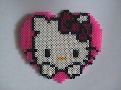 Perler Bead Wall Art Hello Kitty by angelferret Melty Bead Patterns, Pearler Bead Patterns, Perler Patterns, Beading Patterns, Perler Beads, Perler Bead Art, Fuse Beads, Melted Pony Beads, Hello Kitty Crochet