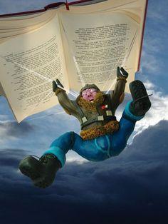 Volando libros.