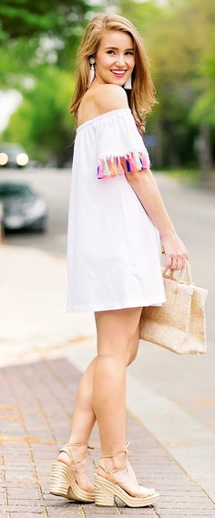 #spring #outfits This Fun Tassel Dress