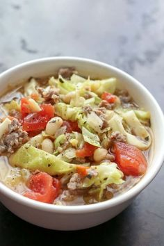 Italian White Bean, Cabbage, and Sausage Soup - This hearty soup is full of flavor and filled with far more vegetables and meat than broth. It comes together in less than 30 minutes. Cabbage And Sausage, Ham And Cabbage Soup, Cabbage Soup Recipes, Potato Recipes, Bread Recipes, Sausage Soup, Turkey Sausage, Turkey Soup, Brunch