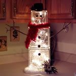 glass block snowman - no instructions but should not be hard to figure out