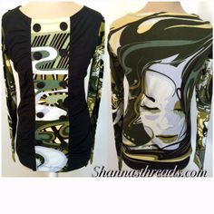 Green Button Long Sleeve Ruched Top   Shannasthreads