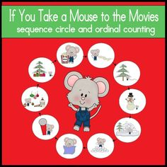 """Practice sequencing the events of the holiday book """"If You Take a Mouse to the Movie"""" using these story cards and sequence circle!  $3"""