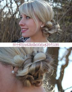 Ribbon Messy Bun Tutorial.  Great blog with tons of hairstyle how-to's