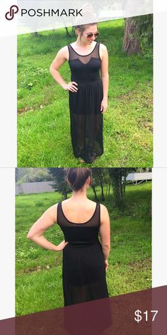 Black Mesh Maxi Dress This dress is so cute!! Dress it up or down, perfect for spring and summer! The mesh overlay goes down to the floor but the under layer is more of a mini dress (see pics). For reference, I'm 5'9. LA Hearts Dresses Maxi