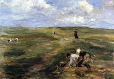 'Digging for Potatoes in the Dunes at Zandvoort', Oil On Canvas by Max Liebermann (1847-1935, Germany)