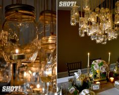 Mason jar chandelier!  Via Eco and Elsie