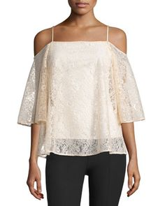 Tusk+Cold-Shoulder+Floral-Lace+Top,+Peach+by+Bailey+44+at+Neiman+Marcus.