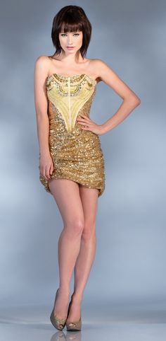 Dazzling Short Gold Sequin Dress Strapless Ornate Beading Rhinestones 207 99