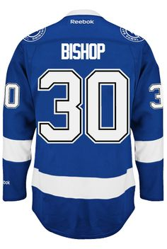 4779ad4866a Tampa Bay Lightning Goalie Ben BISHOP #30 Official Home Reebok Premier  Replica A CoolHockey