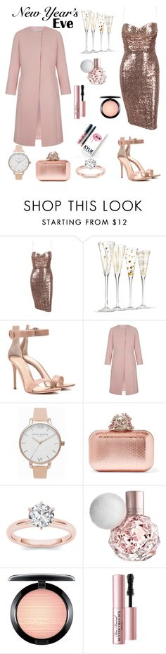"""New Year's Eve Party"" by mississippimsu ❤ liked on Polyvore featuring Gianvito Rossi, Olivia Burton, Jimmy Choo, Kylie Cosmetics, MAC Cosmetics and Too Faced Cosmetics"