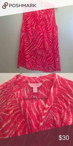 Lilly Pulitzer silk pink too Lilly Pulitzer pink and white silk top. Only worn a few times. Lilly Pulitzer Tops Blouses
